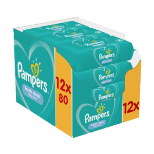 pampers fresh clean törlőkendő 12x80